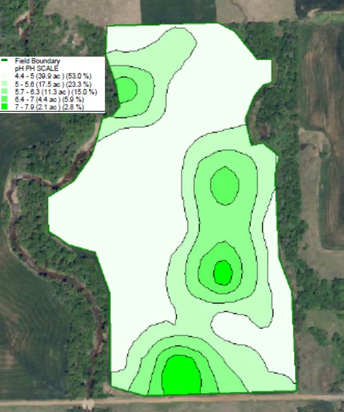 Figure 5. Soil pH results from a 75 acre field that was grid soil sampled at a 2.5 ac resolution.