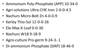 List of fertilizers and products used.