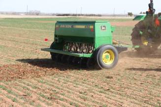 John Deere double disk drill used to apply urea in-season.