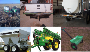 Just a few of the applicators used for putting out N-Rich Strips. Not shown is NH3 applicator.