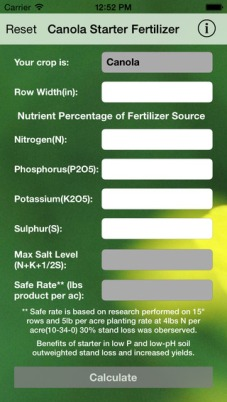 Canola Starter available on iOS and Android. For more information see http://www.dasnr.okstate.edu/apps.